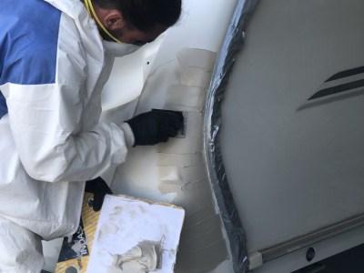 repairing a damaged caravan