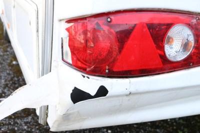 Damaged caravan