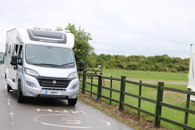 motorhome driving from campsite