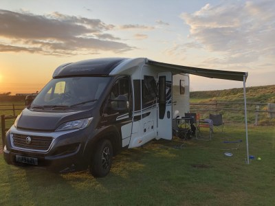 Wind out motorhome awning