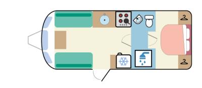 2. Rear island bed, split washroom layout