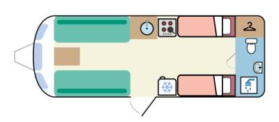 3. Single beds, end washroom caravan layout