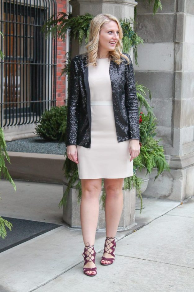 A classic sequin jacket that you can wear to the office