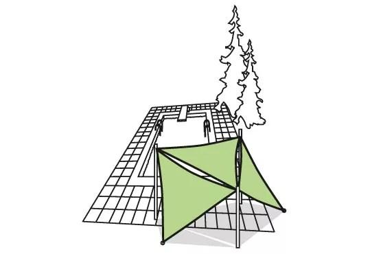 Icon Sonnensegel Beispielanwendung Dreieck
