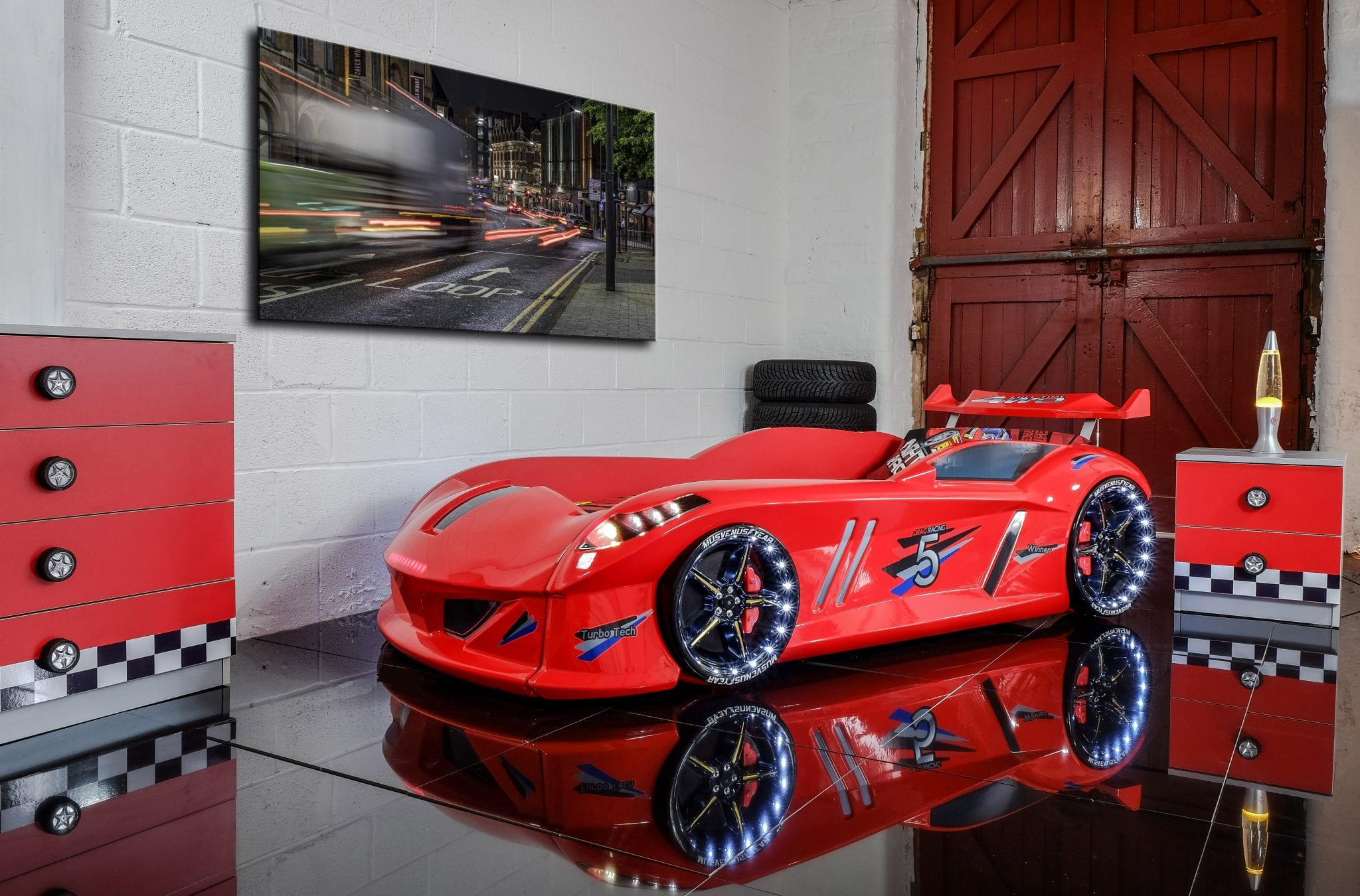 Thunder Race Car Bed Red With LED Lights And Sounds Car