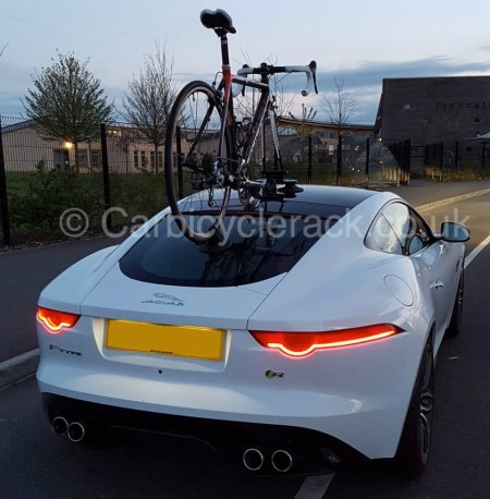 Rear view of jaguar f type with bike rack fitted