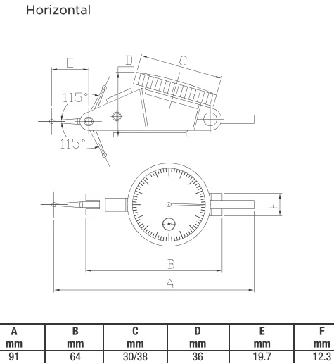 .03 1.26 Inch 32mm .0005 0-15-0 ±.0005 Dial Test Indicator