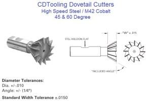 Dovetail Cutters 45 Degree, 60 Degree, High Speed Steel, Cobalt