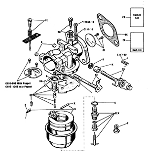 Zenith 13656 Carburetor Kit, FLoat and Manual