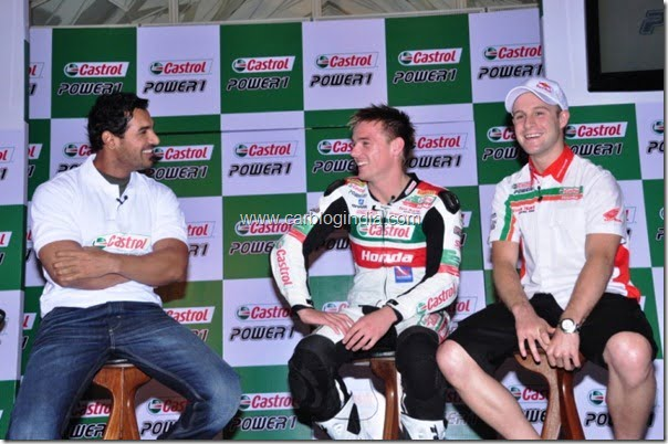Castrol Brand Ambassador John Abraham with Alex Lowes(l) and Jonathan Rea(r) at the Relaunch of Castrol Power1 in Mumbai 2