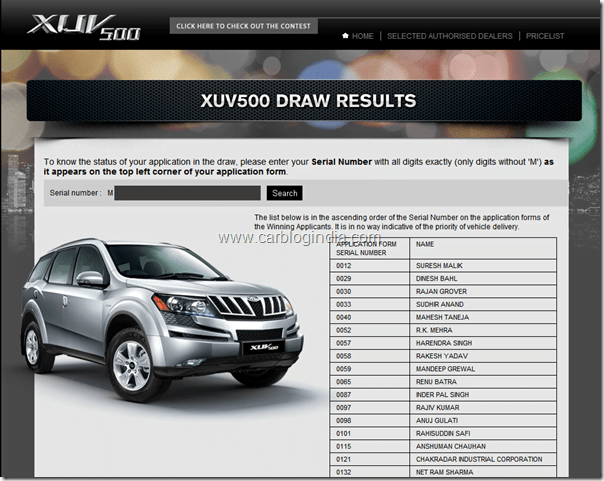 XUV500 Draw Results