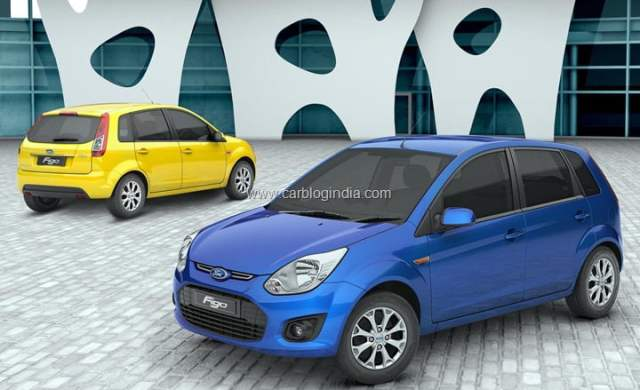 Ford Figo Front Left Quarter Blue and Rear Right Quarter Yellow