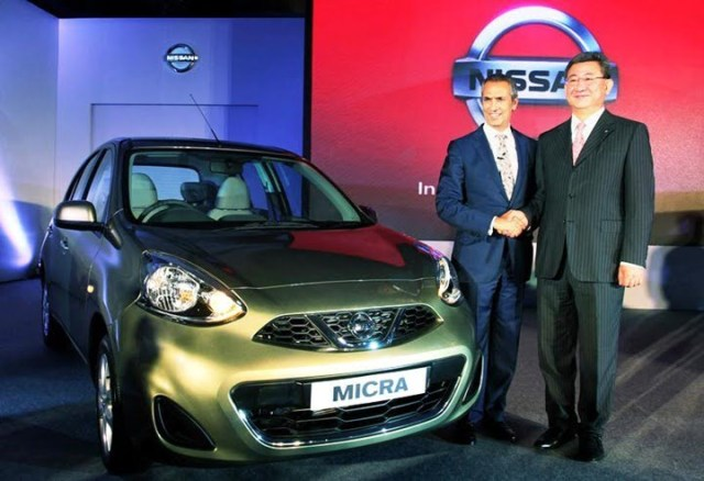 Kenichiro Yomura, President of Nissan India, and Moez Mangalji, Chairman, Hover Automobiles, announce the launch of the new Nissan Micra, in Mumbai, India on July 3, 2013. The nation-wide sales for New Nissan Micra and Micra Active, built with Nissan's versatile 'V' platform, will commence with immediate effect.