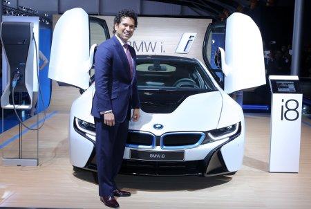 cars of sachin tendulkar BMW i8 at the Auto Expo 2014