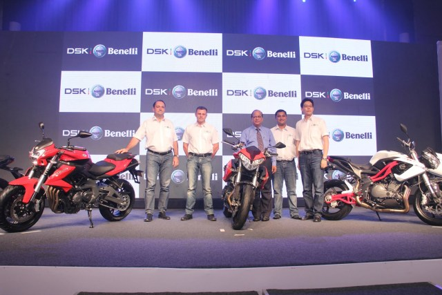 From L to R.  (Mr. Stefano Mitchelloti Technical Director at Benelli, Mr. Stefano Lago After sales Benelli, Me. DS Kulkarni Chairman DSK Group, Mr. Sirish Kulkarni Chairman DSK Motorwheels and Mr. Frank Zhaun