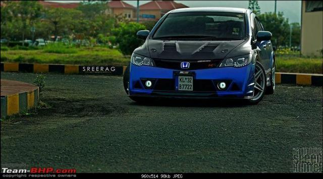 modified cars in india - modified-honda-civic-in-kerela-blue-front