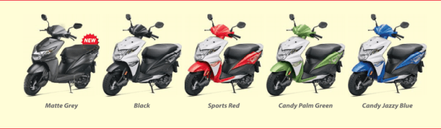 2016 honda dio prices with colours