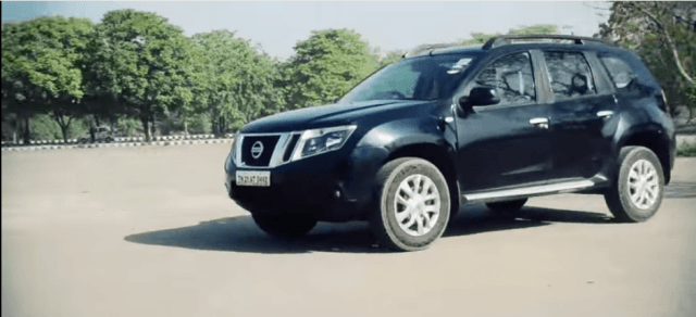 Nissan-Terrano-Petrol-Review-Images-Black-Front-Angle-Action