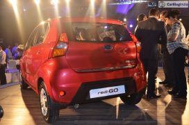 2016 datsun redi go official launch red rear angle 2