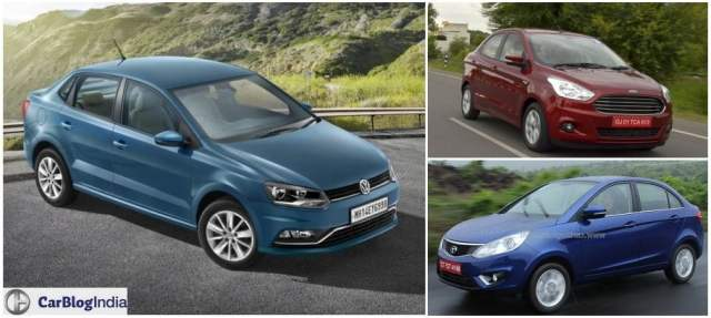 Volkswagen Ameo vs Ford Aspire vs Tata Zest comparison of price, specifications, features, mileage, design, dimensions