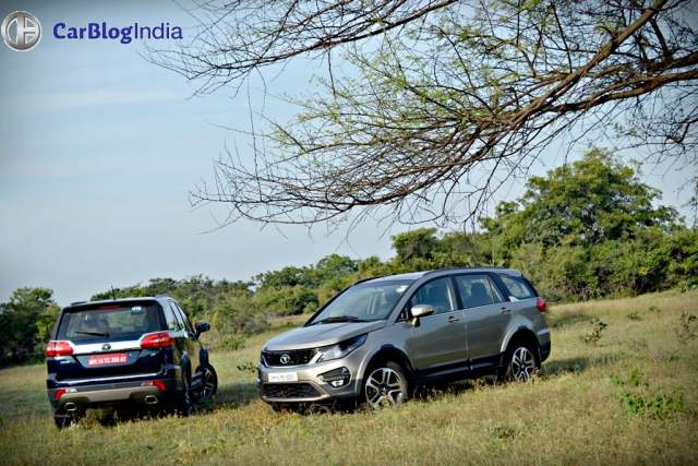 tata hexa test drive review images blue beige side profile