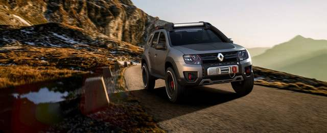 renault duster extreme concept front three quarters action images