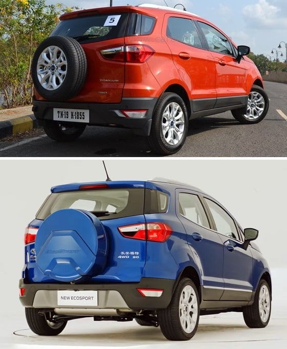 ford ecosport old vs new rear angle