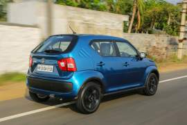 maruti ignis test drive review images action rear angle tracking shot