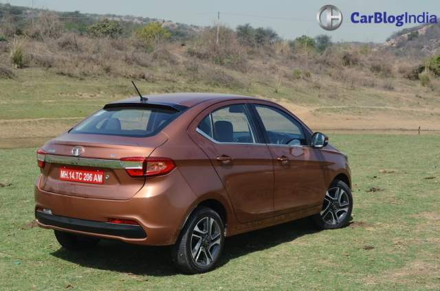 tata tigor test drive review images rear angle