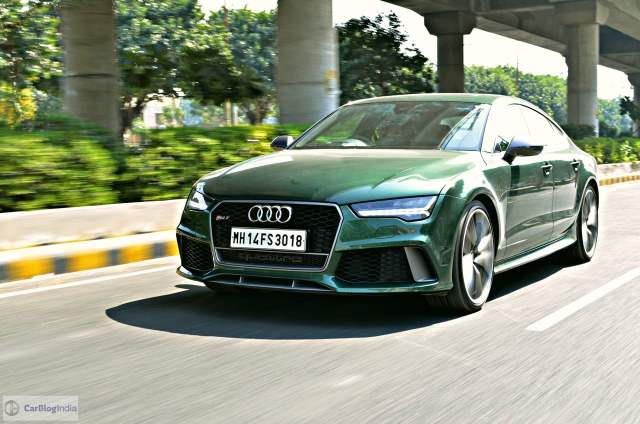 audi rs7 sportback performance review imgaes front angle action shot
