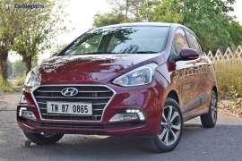 2017 hyundai xcent facelift test drive review front angle