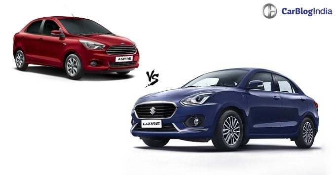 maruti dzire  ford aspire comparison  price specifications mileage