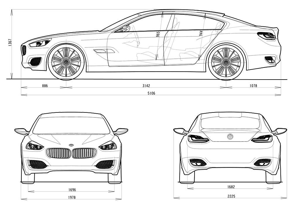 Bmw Cs Concept Dimensions Blueprint Car Body Design