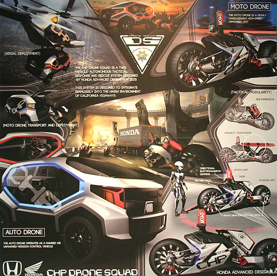 Honda CHP Drone Squad  Design Poster  Car Body Design