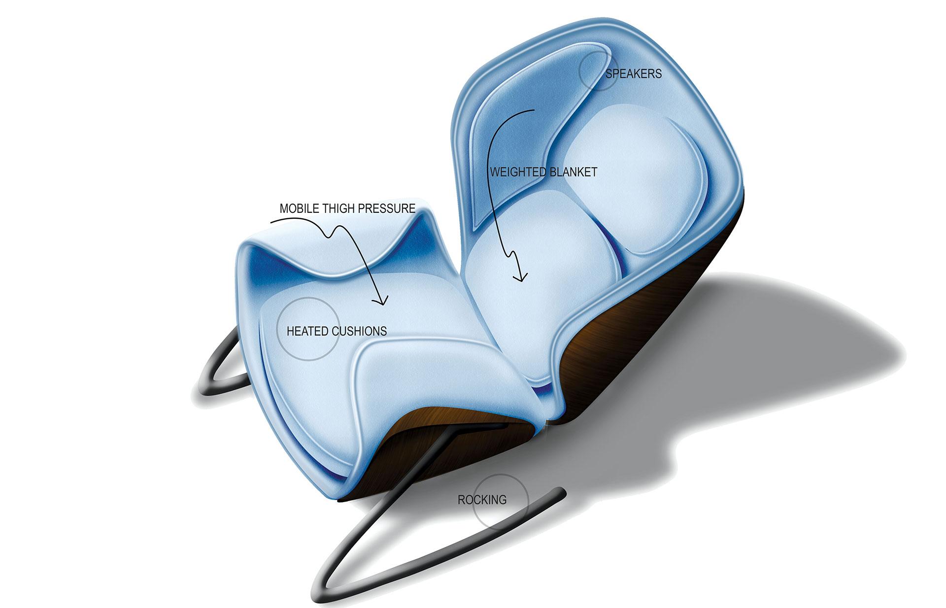 rocking chair for autistic child ergonomic computer desk autism therapy car body design