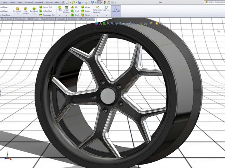 Modeling a 3D 20-inch rim in SolidWorks - Car Body Design