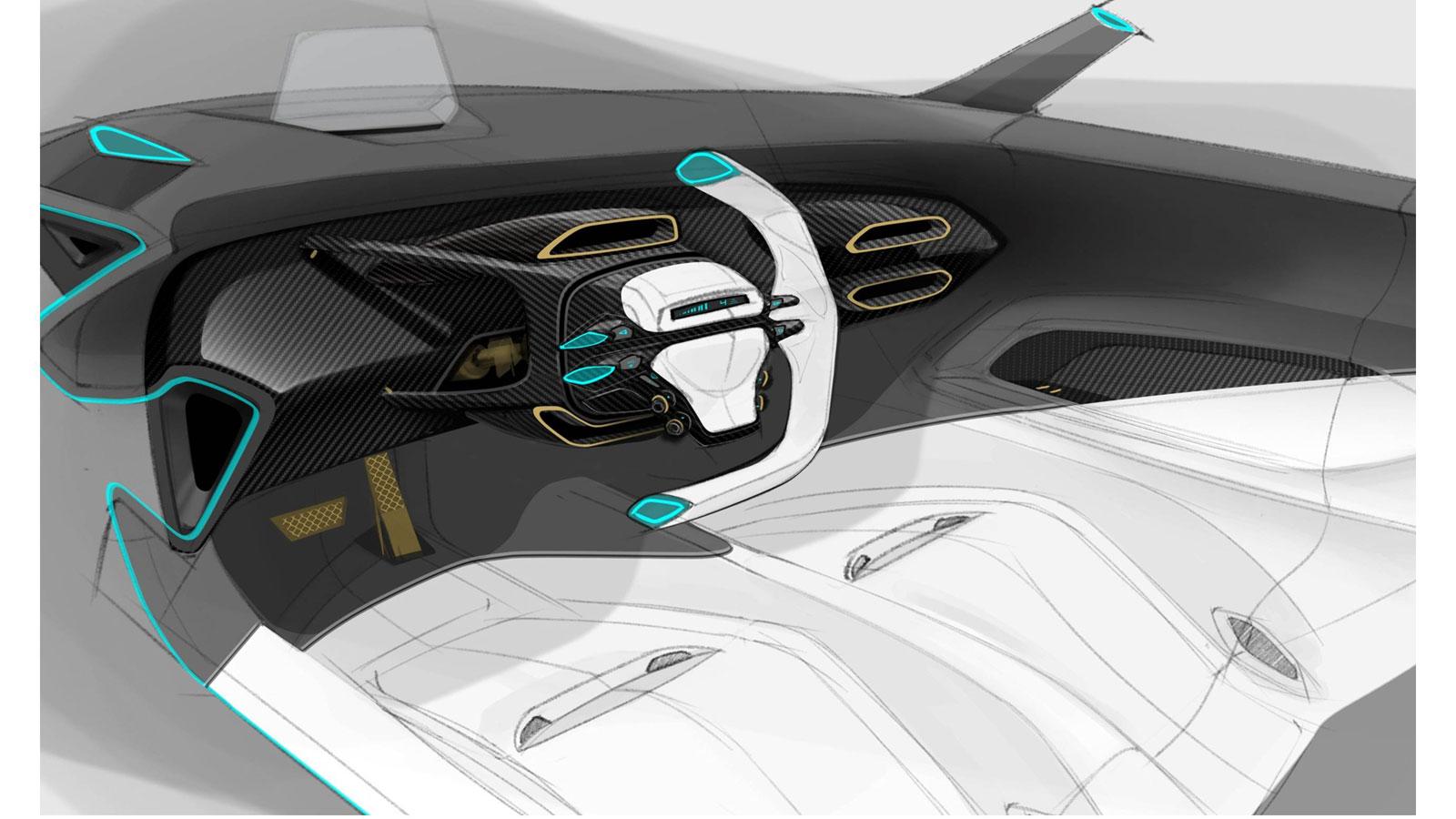Ford GT Interior Design Sketch Render Car Body Design