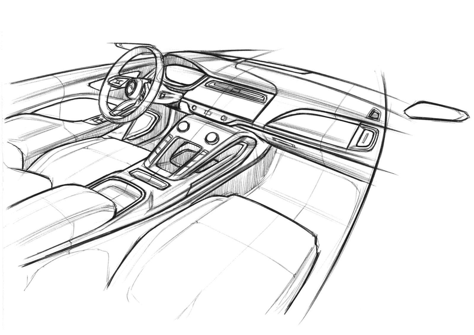 Jaguar I Pace Interior Design Sketch