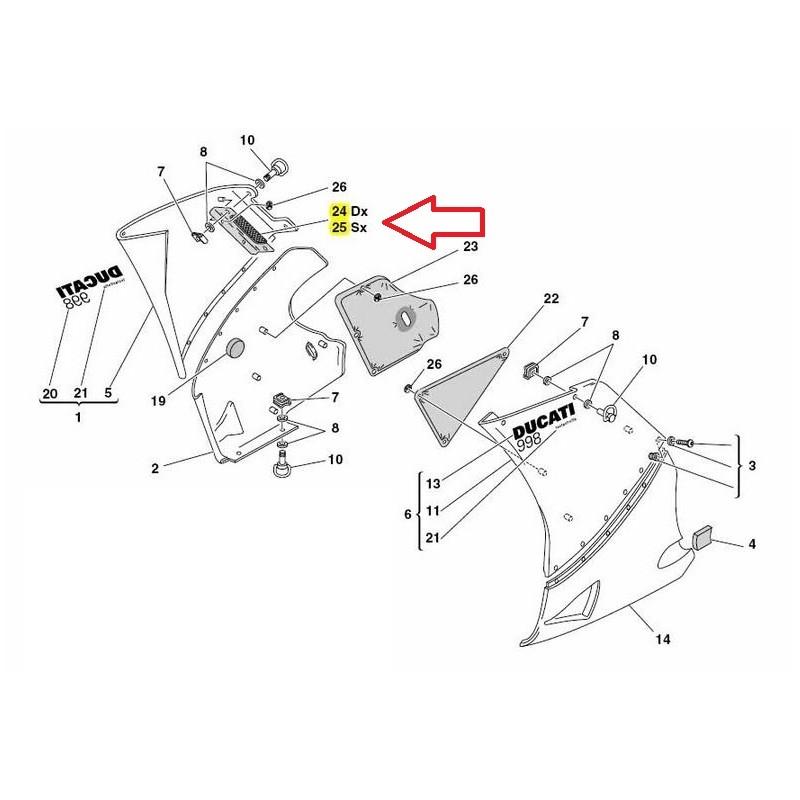 Ducati Side Fairing Metal Mesh Vent Screens: 748/998