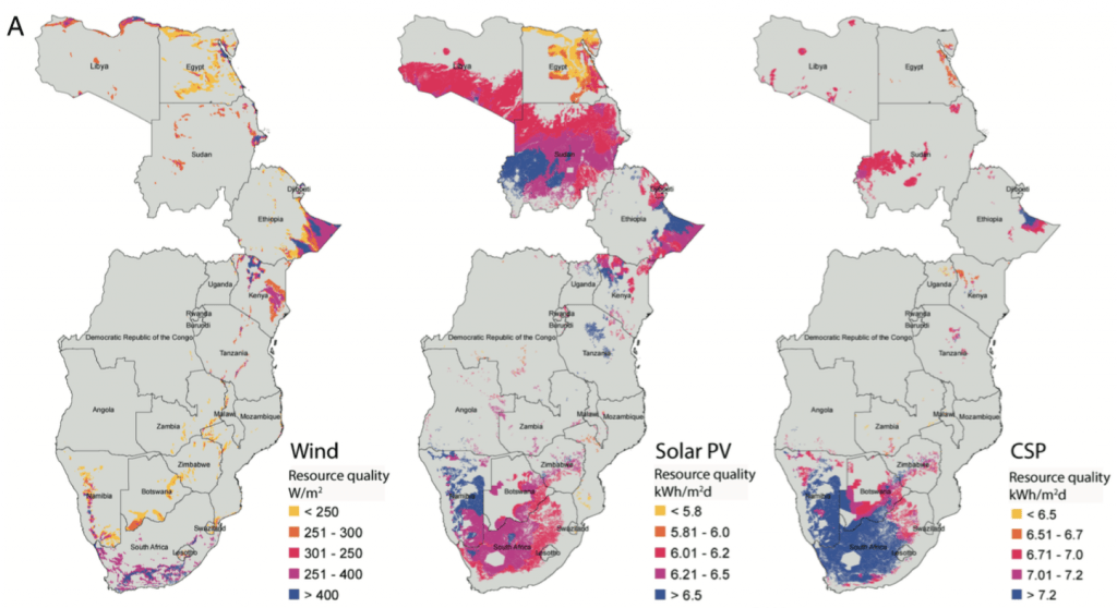Location and quality (TWh) of renewable energy resources in 21 African countries. Wu et al, (2017)