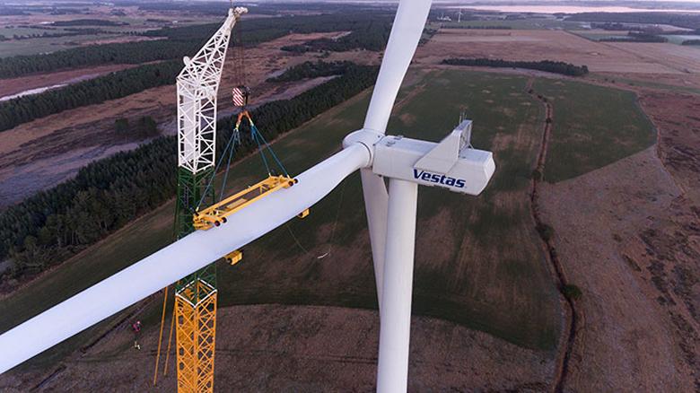 """Installation of the first Vestas V136-3.45 MW® turbine. Credit: <a href=""""https://www.vestas.com/en/products/4-mw-platform/v136-_3_45_mw#!first-turbine-installed"""" target=""""_blank"""" rel="""