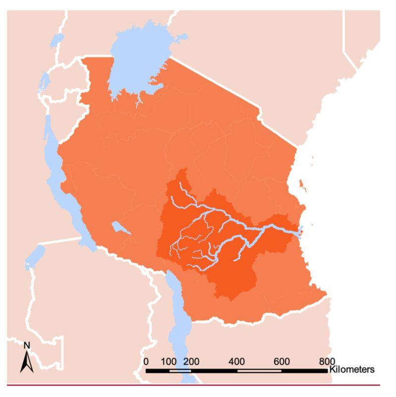 Map shows the Rufiji river basin (dark orange) within Tanzania (orange). Source: Conway et al. (2019)