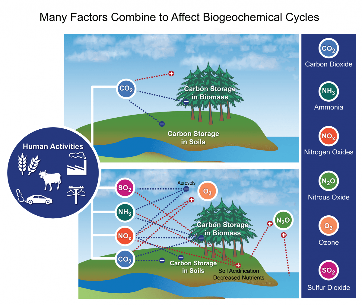 hight resolution of this figure from the national climate assessment 2014 depicts different biogeochemical cycles including