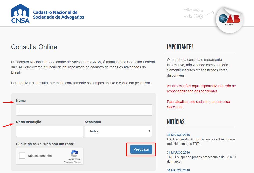 Página do Cadastro Nacional de Sociedade de Advogados - Contratar um Advogado Online - Carbonera e Tomazini