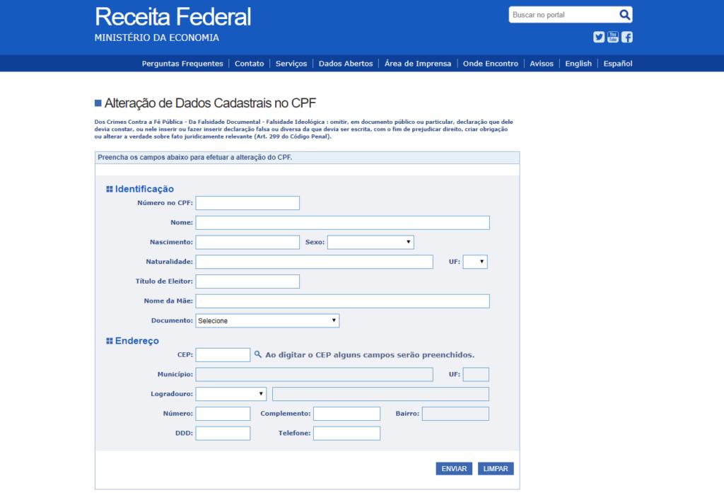 alteração de dados cadastrais CPF