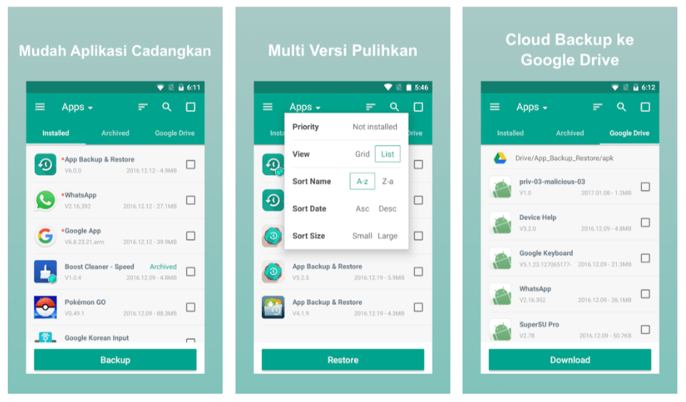 aplikasi backup data aplikasi android