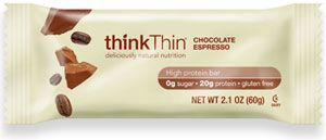 Chocolate Espresso Think Thin Low Carb Gluten Free Protein Bars