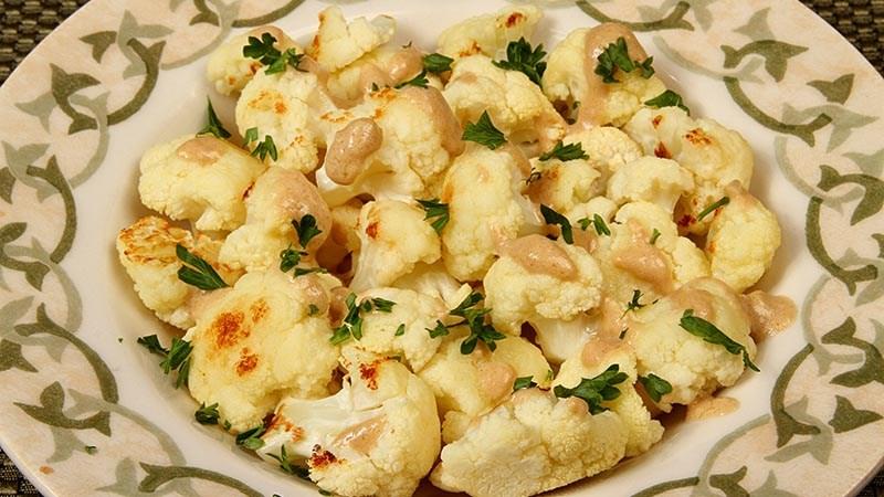 Low-Carb Roasted Cauliflower with Lemon-Tahini Sauce Recipe