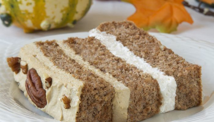 Pecan Latte Gateau Gluten-Free Low-Carb Dessert Recipe from CarbSmart Low-Carb & Gluten-Free Holiday Entertaining Cookbook
