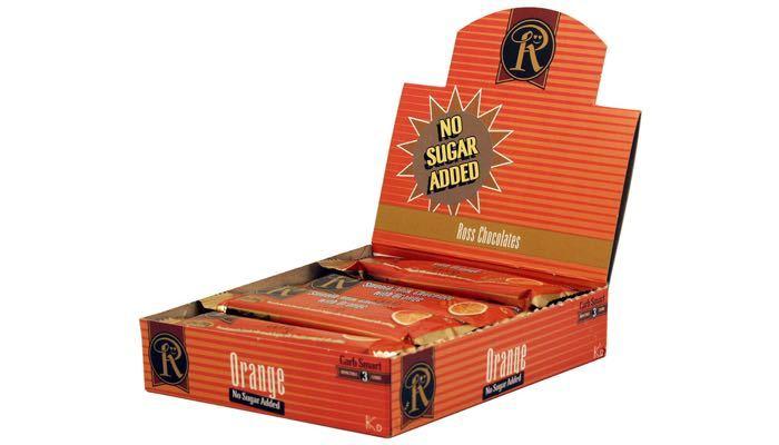 Milk Chocolate with Orange No Sugar Added Bars by Ross Chocolates